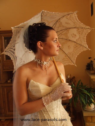 battenburg lace parasol and gloves